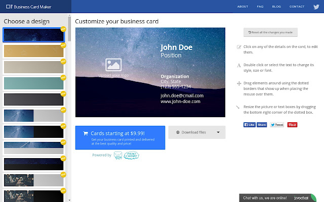 Business card maker chrome web store easily create your own free business cards in seconds using high quality professional designs reheart Images