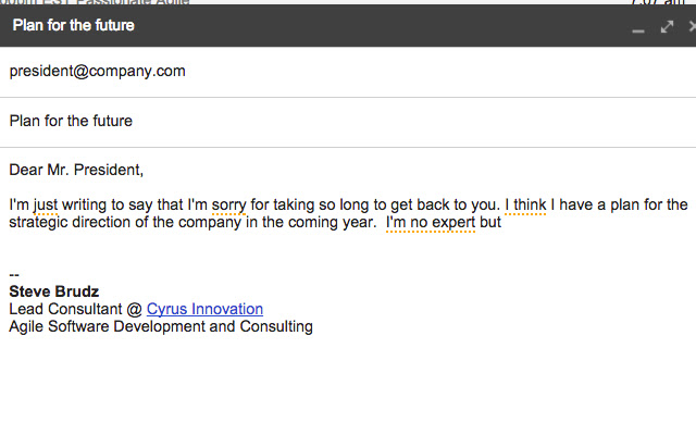 Just Not Sorry -- the Gmail Plug-in