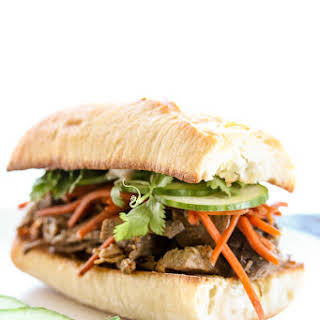 Banh Mi Inspired Slow Cooker Steak Sandwiches.