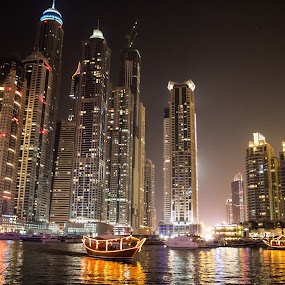 Dubai Marina by Sebastian Tontsch - City,  Street & Park  Skylines ( dubai marina skyline luxury night )