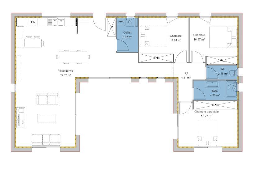 Vente Terrain + Maison - Terrain : 2300m² - Maison : 104m² à Rochechouart (87600)