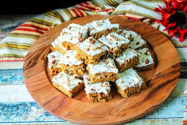 A Platter Of Frosted Spicy Sweet Potato Bars.