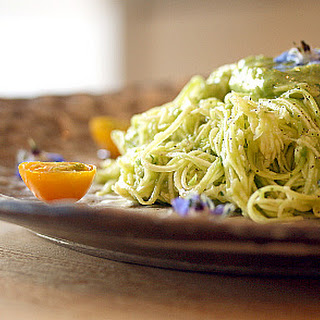 Zucchini Noodles with Avocado Dressing.