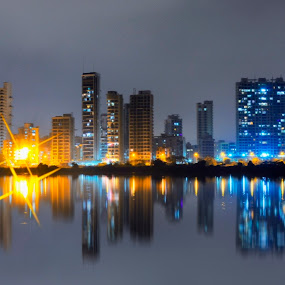 The Floating Lights  by Kartik Wat - City,  Street & Park  Skylines ( mumbai, palm beach, night life, city lights, city skyline, floating lights, night, lights )