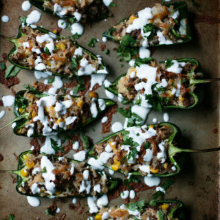 Spicy Stuffed Poblano Peppers with a Fresh Lime Crema.