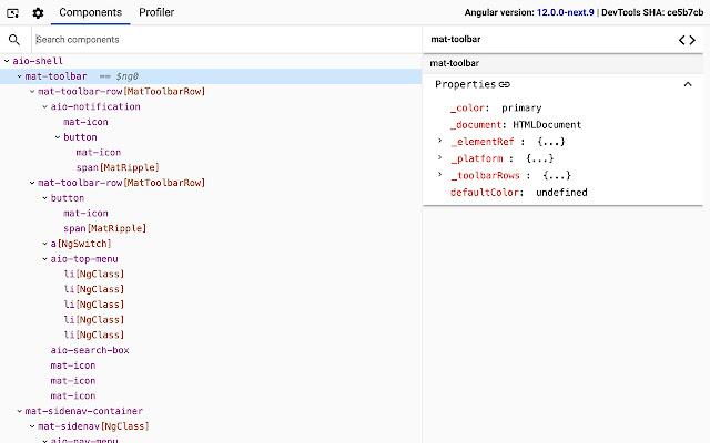 Angular DevTools Screen