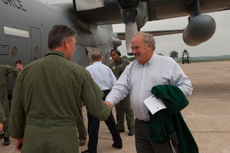 Photo: City Mangar of White Bear Lake, Minnesota shakes hands with Col. Greg Haase, Commander of the 133rd Airlift Wing at the St. Paul Air National Guard Base. Mayors and other city officials from around the Twin Cities participated in demonstrations, an orientation flight on a C-130, and exchanged information with Minnesota National Guard members at Metro Mayors Day at the 133rd Airlfit Wing on Aug. 19, 2010. www.MinnesotaNationalGuard.org photo by Senior Master Sgt. Mark Moss
