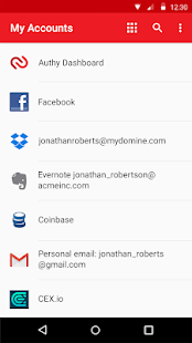 Authy 2-Factor Authentication Screenshot