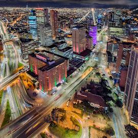 The Colombian Concrete Jungle by Andrius La Rotta Esquivel - City,  Street & Park  Vistas ( city view, bogota, city scene, cityscape, city lights, long exposure, photography, colombia, night photography, vistas )