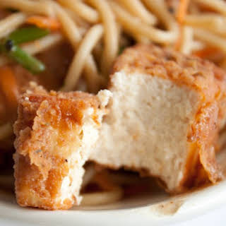 Crispy Battered and Fried Tofu.