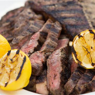 Grilled New York Strip Steak with Lemon.
