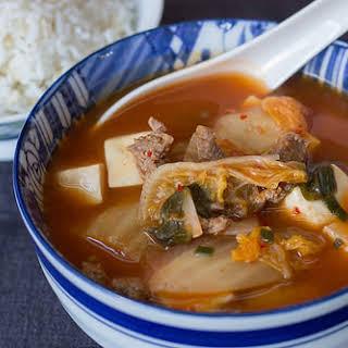 Kimchi, Beef & Tofu Soup.