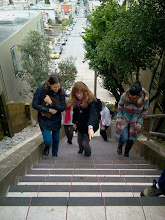 Photo: San Francisco Department of Public Works (DPW) Street Parks Program stewards pay a site visit to  the Hidden Garden Steps (16th Avenue, between Kirkham and Lawton streets in San Francisco's Inner Sunset District) and meet with Steps project volunteers on February 15, 2014 as part of a workshop sponsored by DPW and the San Francisco Parks Alliance (SFPA); the Steps were one of four DPW Street Parks projects included on the tour. (pictured in foreground, left to right: Julia Brashares, from SFPA; Licia Wells, from the Hidden Garden Steps project; and Sonia Suresh, from SFPA)  For more information about the Steps, please visit our website (http://hiddengardensteps.org), view links about the project from our Scoopit! site (http://www.scoop.it/t/hidden-garden-steps), or follow our social media presence on Twitter (https://twitter.com/GardenSteps), Facebook (https://www.facebook.com/pages/Hidden-Garden-Steps/288064457924739) and many others.