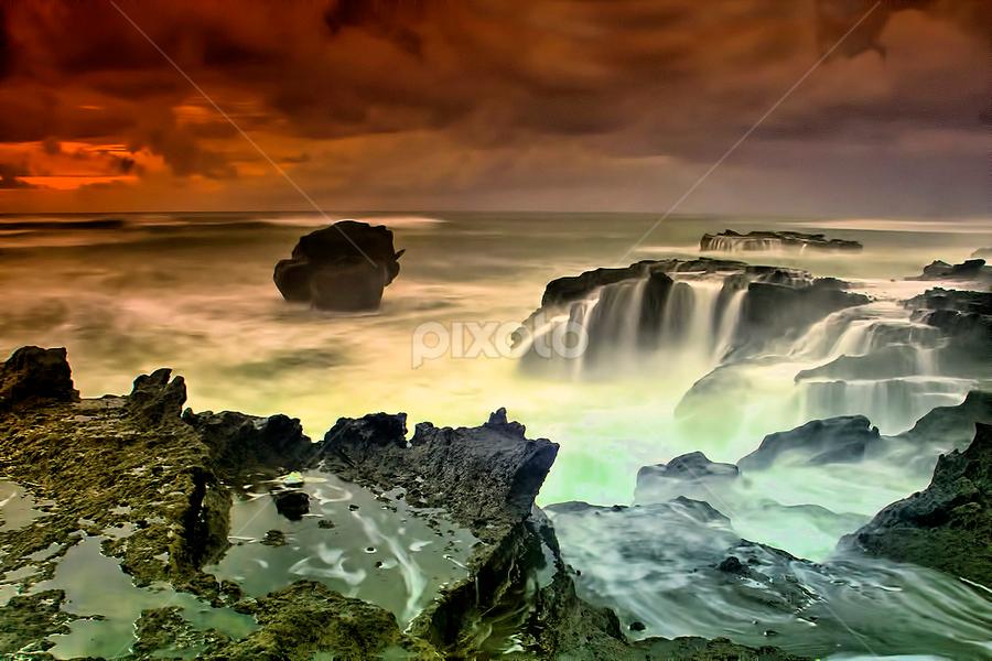 .:: waterfall park ::. by Setyawan B. Prasodjo - Landscapes Sunsets & Sunrises ( bali, nature, waterscape, sunset, waterfall, beach, seascape, sunrise, landscape )