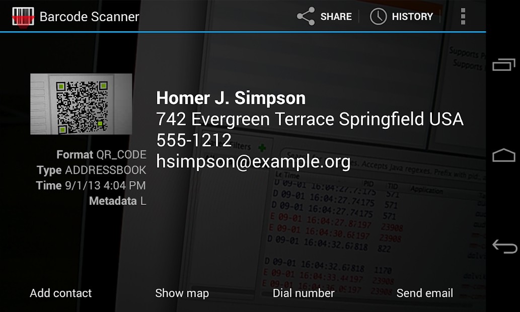 Barcode Scanner Android App Screenshot