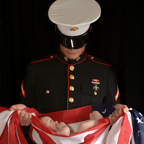 Father and Son by Marie Burns - People Family ( marine, flag, america, son, baby, father )