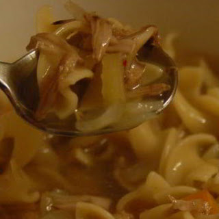 "Jackfruit ""Chicken"" Noodle Soup."