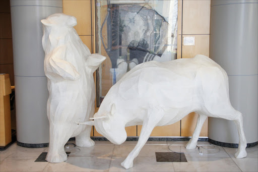 Bull and bear statues at the JSE.  Picture: MICHAEL BRATT