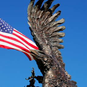 Freedom by Stephanie Ostrander Bishop - Buildings & Architecture Statues & Monuments ( flag, blue, statues,  )