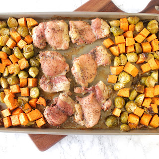 Easy Maple Mustard Chicken Thigh Sheet Pan Supper