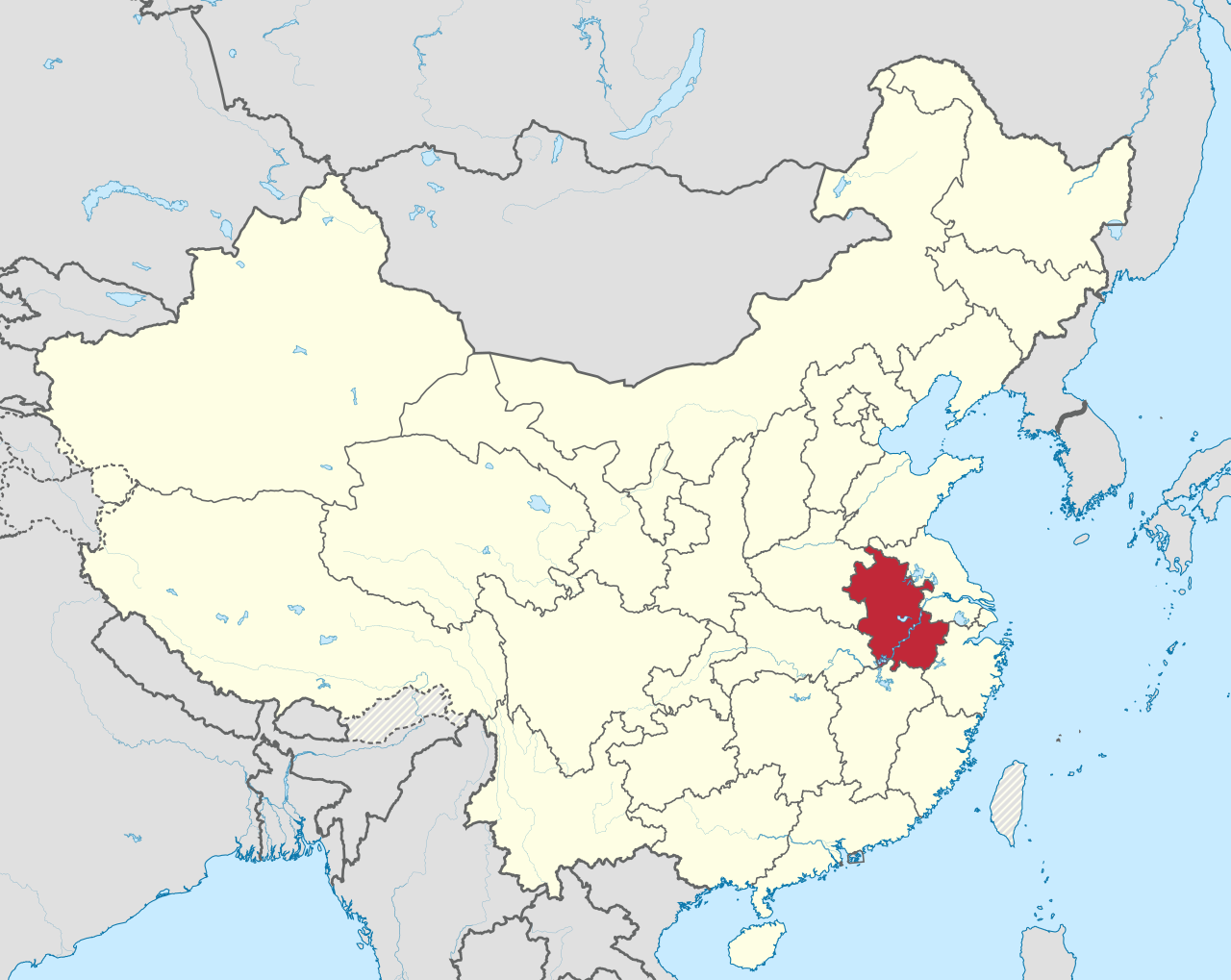 a map of china with a red region outlined marking the province of Anhui.
