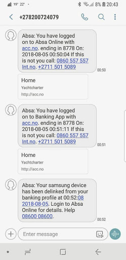 Screen grab of SMSes from Absa to Ofentse Ramarumo.