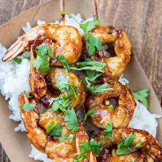 Raspberry Chipotle Shrimp Skewers.