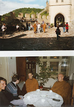 Photo: Ajahn Sumedho at Karlstejn castle (above) Visiting the Friends of Dhamma group (below)