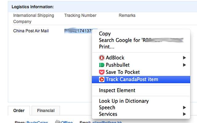 Right-click CanadaPost Tracker