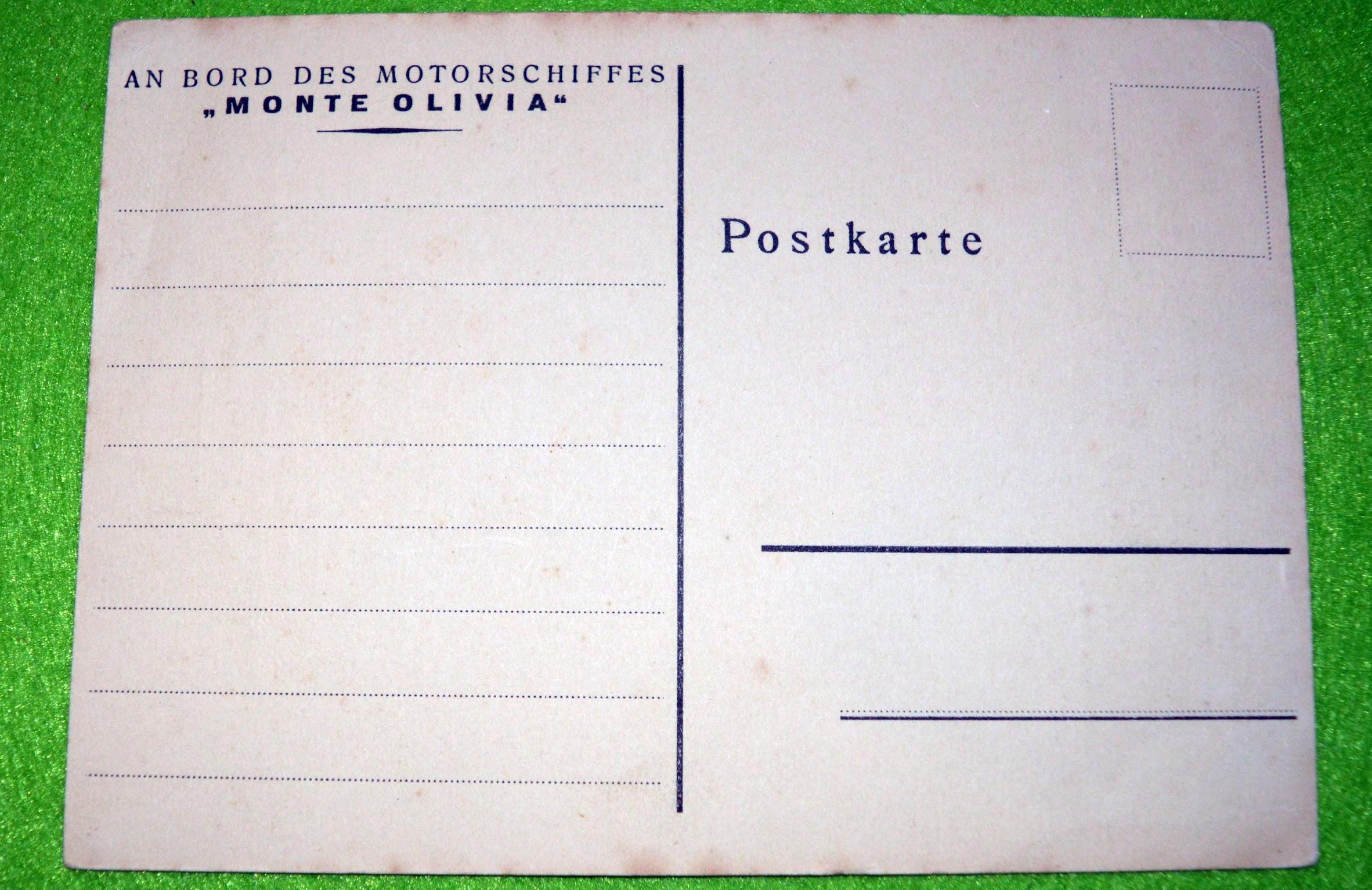 KdF - Kraft durch Freude Postkarte von Bord der M/S Monte Olivia - 1. Juli 1934