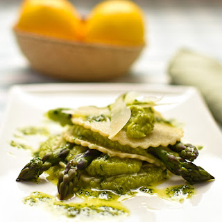 Open Ravioli Of Asparagus With Pea Purée