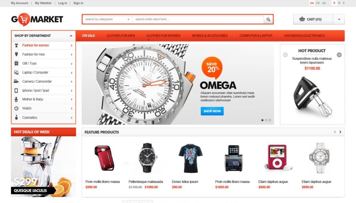 Watches magento theme goMarket