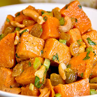 Curried Sweet Potato Salad with Cashews and Golden Raisins.