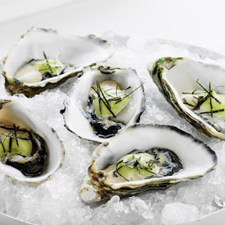Oysters with Wasabi Mayo.