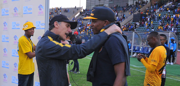 Giovanni Solinas coach of Kaizer Chiefs and Lebogang Manyama of Kaizer Chiefs during the MTN8 Semi Final first Leg match between SuperSport United and Kaizer Chiefs on the 26 August 2018 at Lucas Moripe Stadium.
