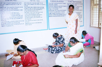 Photo: Young women writing their examination conducted our partnering organisation- JSS,Ministry of HRD,Government of India at CTC.Seen in the picture is our Lady IT Instructress supervising the examination