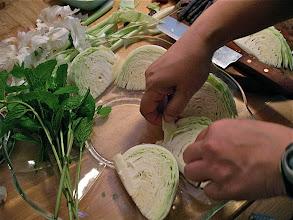 Photo: arranging vegetables on platter