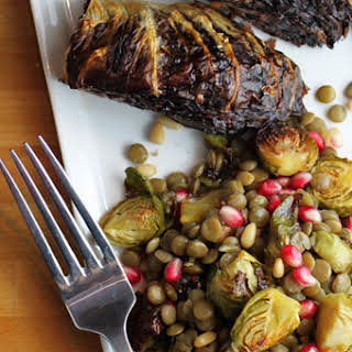 Warm Lentil and Brussels Sprout Salad With Roasted Radicchio Wedges [Vegan, Gluten-Free].
