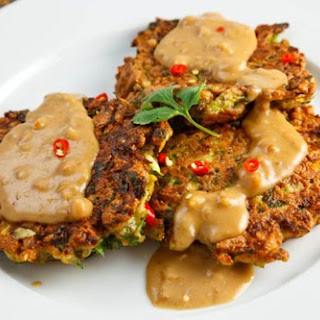 Thai Curried Zucchini Fritters with Spicy Peanut Sauce Recipe