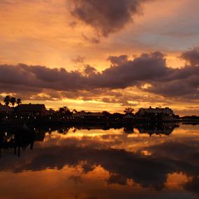 My Little Town by Rhonda Lee - Landscapes Sunsets & Sunrises ( orange, unique, sunset, florida, villages )