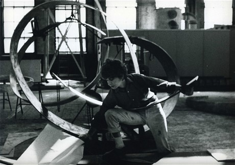 Beverly Pepper at work in a metal factory during the 1960s.