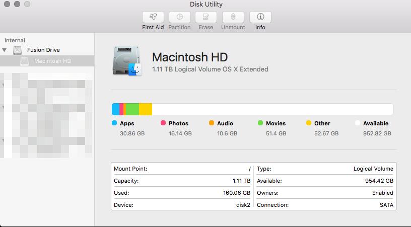 Disk Utility in El Capitan.