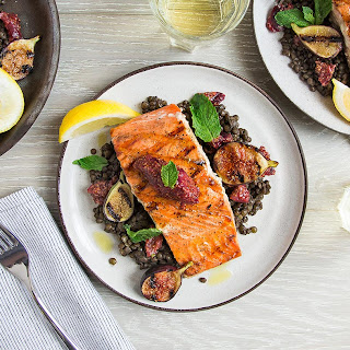 Grilled Salmon with Fig Mustard and Lentils