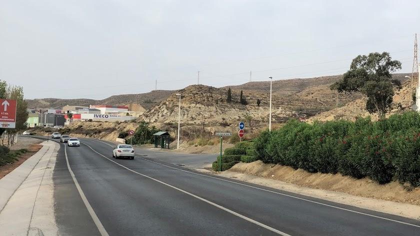 Tramo de la N-340 a su paso por Huércal de Almería.