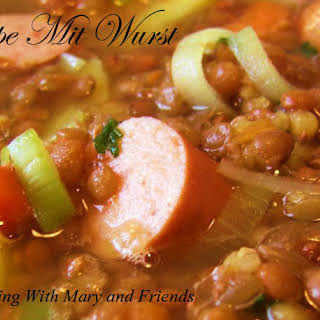 Linsen Suppe Mit Wurst (German Lentil Soup With Sausage).