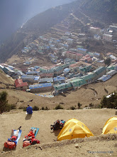 Photo: The view looking down on Namche Bazar.  We camped 100m above town.