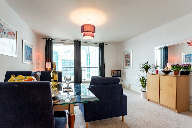 Living area at St George Wharf Serviced Apartments