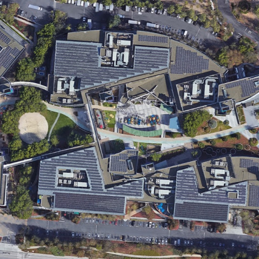 Overhead view of some of the buildings making up Google's Mountain View campus