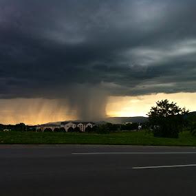 Rain Storm by Jennifer Lamanca Kaufman - Instagram & Mobile iPhone ( funnel, weather, cloud, storm, rain, black )