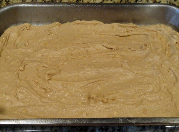 Spread evenly in 9x13 cake pan.  Bake at 350 degree for about 30...